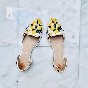 Never worn lemon patterned slip ons